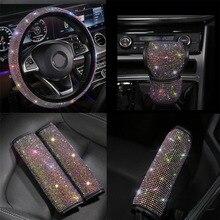 5PCS/Set Diamond Car Seat Belt Shoulder Pads Cover Hand Brake Set steering wheel