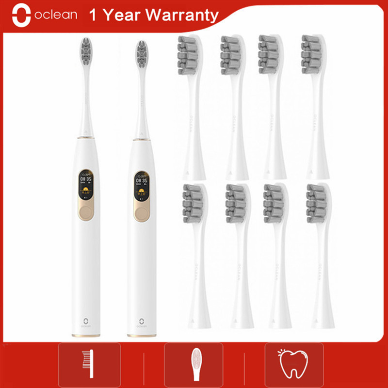 Global Version New Oclean X Sonic Electric Toothbrush + 8Pcs Brush Head Adult Waterproof Ultrasonic Fast Charging Tooth Brush