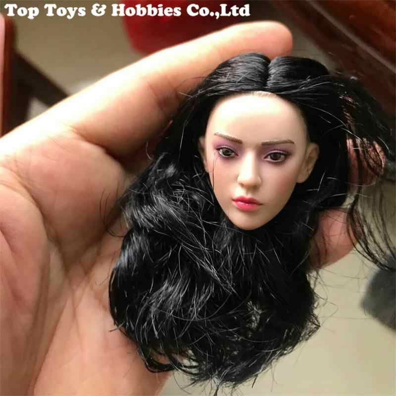 1/6 בקנה מידה PL2019-158 פנטום רוצח ראש גילוף דגם סגול צלליות נקבה ראש לפסל צעצועי 12 ''דמות גוף בובה