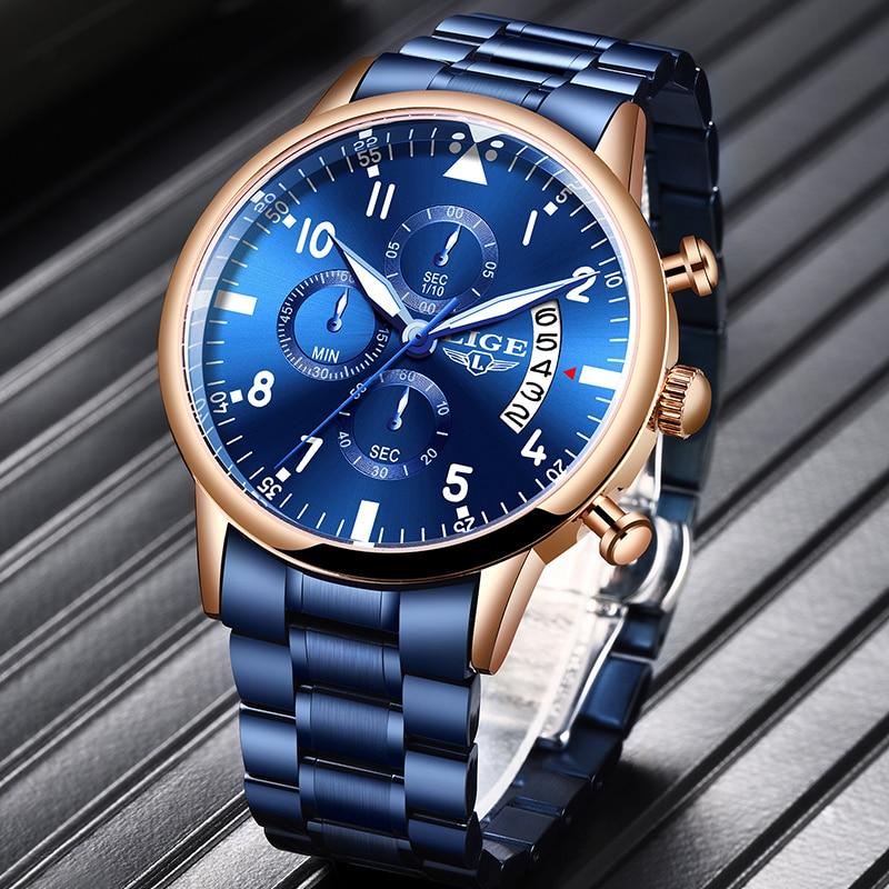 2020 LIGE New Mens Watches Fashion Sport Blue Quartz Wrist Watch Mens Luxury Top Brand Waterproof Male Clock Relogio Masculino