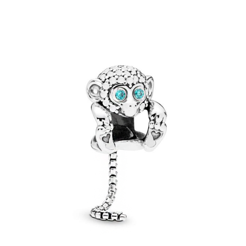 New Fashion Crystal Silver Color Zodiac Monkey Beads Fit Pandora Charms Bracelets for Women Birthday Gift Making Jewelry(China)