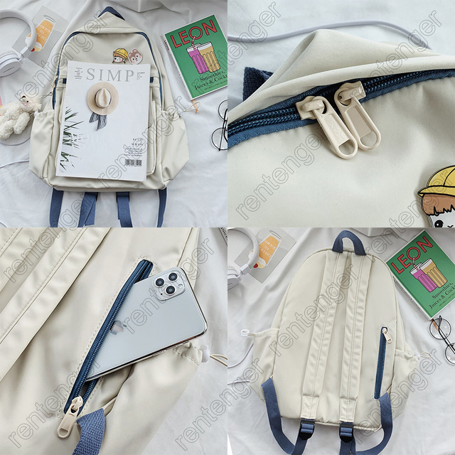 College Book Lady Badge Backpack Kawaii Fashion Girl School Bag Trendy Women Cute Backpack Nylon Female Harajuku Bag Student New
