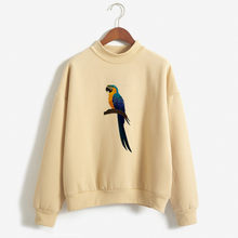 2019 all-match fall Winter Fleece Oh no birds Harajuku Print Pullover Thick Loose Women Hoodies Sweatshirt Female Casual Coat(China)