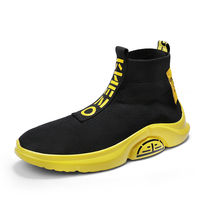 Image 5 - Fashion High Top Casual Shoes Men Breathable Flats Mens Casual Slip On Platform Shoes Men Sock Walking Footwear Man zapatos 2019-in Men's Casual Shoes from Shoes