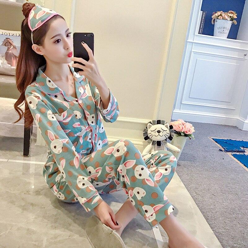 Spring And Autumn Korean-style Cartoon Cardigan Cartoon Green Rabbit Women Pajamas Women's Homewear Set M-2xl