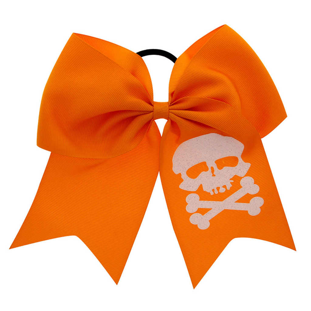 Halloween Children Print Big Bow Elastic Hair Ring Head Hoop Girls Headband DA