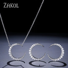 ZAKOL Classic Moon Shape Jewelry Sets White Gold With Tiny CZ Paved Pendant Necklace & Stud Earrings For Women FSSP3002(China)