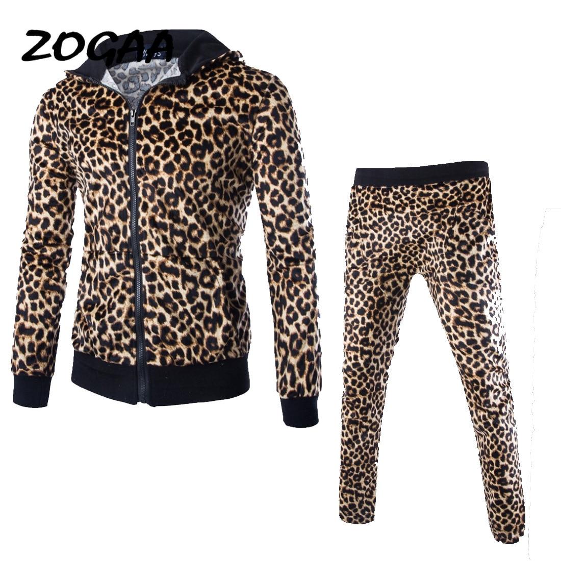 ZOGAA Leopard Men Sets Fashion Autumn Spring Sporting Suit Sweatshirt +Sweatpants Mens Clothing 2 Pieces Sets Slim Tracksuit