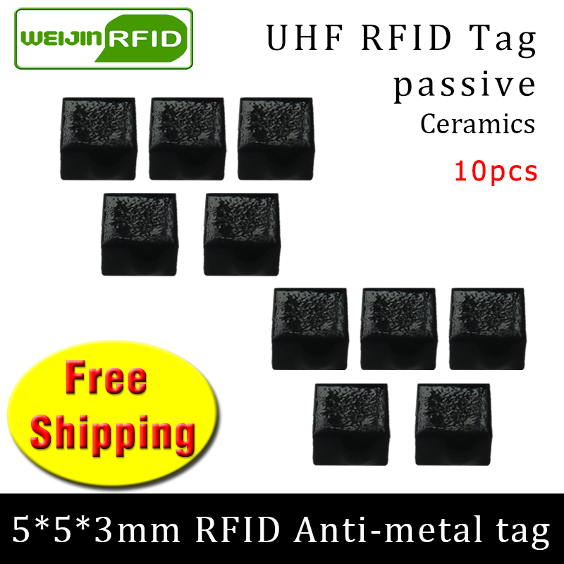 UHF RFID Anti Metal Tag 915mhz 868mhz Alien Higgs3 EPC 10pcs Free Shipping 5*5*3mm Very Small Square Ceramics Passive RFID Tags