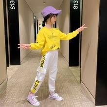 Модный желтый комплект одежды для девочек 13 лет детский спортивный