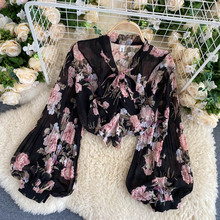 French Retro Floral Blouse Women V-Neck Bow Tie Lantern Long-Sleeved Printed Shirt Ladies' Tops