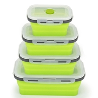 4Pcs Set Foldable Silicone Food Lunch Box Fruit Salad Storage Food Box Container Dinnerware Conveniently Lunch Box Green