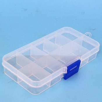 Toolbox 10 Grids Compartments Plastic Transparent Jewel Bead Case Cover Container Storage Box for Jewelry Pill Hardware tools image