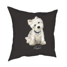 Westie West Highland Terrier Dog rzuć poszewka na poduszkę poliester poduszki na sofę Cute Puppy kreatywna poduszka obejmuje tanie tanio CN (pochodzenie) PRINTED Drukuj Plac Dekoracyjne 100 poliester