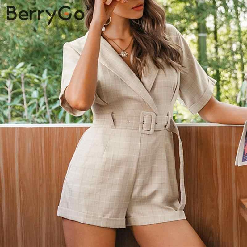 BerryGo Plaid ceinture ceinture combinaison barboteuse femmes bureau dames combinaison courte combishort décontracté streetwear col en v femme combishort