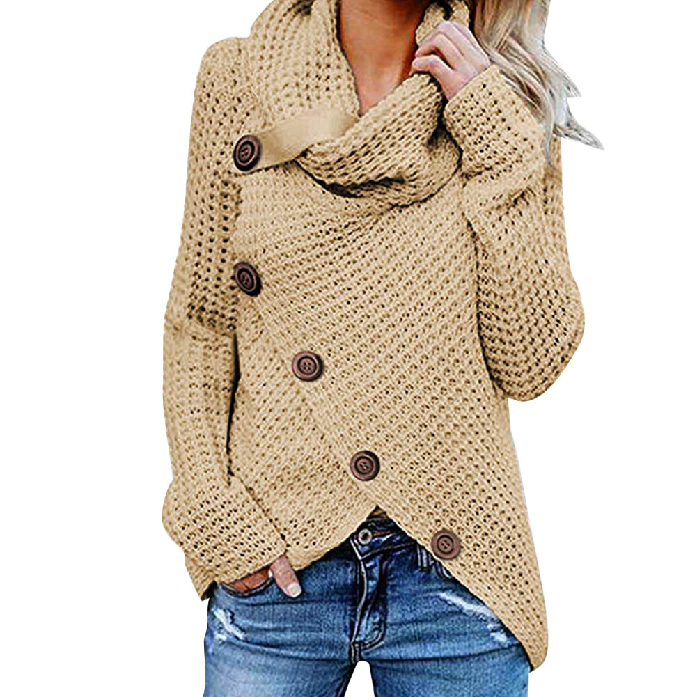 Casual Button Hip Shopping Dating Solid Party Warm Women Sweater High Collar Long Sleeve Daily Autumn Winter Loose