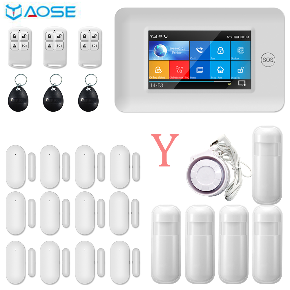 YAOSE 433Mhz GSM WIfi Wireless Home Security System Kit Full Touch Color Screen APP Remote Control For Android And IOS