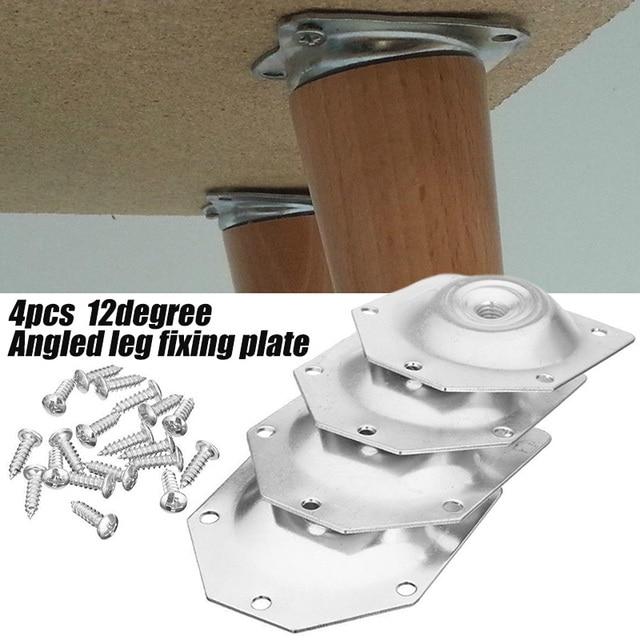 4 Stuks Schuine Helling Tafel Voeten Bevestigingsplaat Sofa Benen Montagebeugel Set Met Schroeven Voor Huishoudelijke Hardware Gereedschap