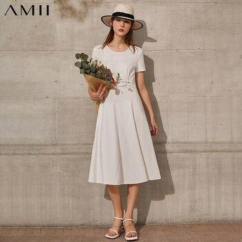 Amii Minimalism Summer New Fashion Dress For Women Offical Lady Solid Vneck Slim Fit Aline Women's Summer Dress  12120095 1