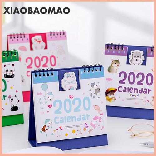 Cartoon Mini Desk Calendar 2020 Creative Cartoon Small Animal Bump Calendar Planning 2020 Office School Supplies Stationery