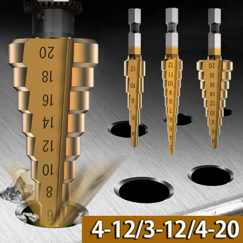 3Pcs/set HSS Step Drill Bit Set Hex Shank Cone Drill Titanium Bit Cone Hole Cutter Metal Countersink Drill Bits 3-4/12/20mm