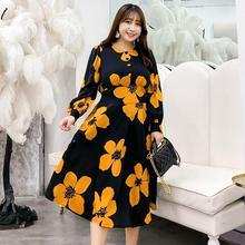 XL-4XL Plus Size Autumn Women Flroal Print Dress Long Sleeve Party Long Print Dress Casual Female Printed Large size Loose Dress paintbrush print plus size dress
