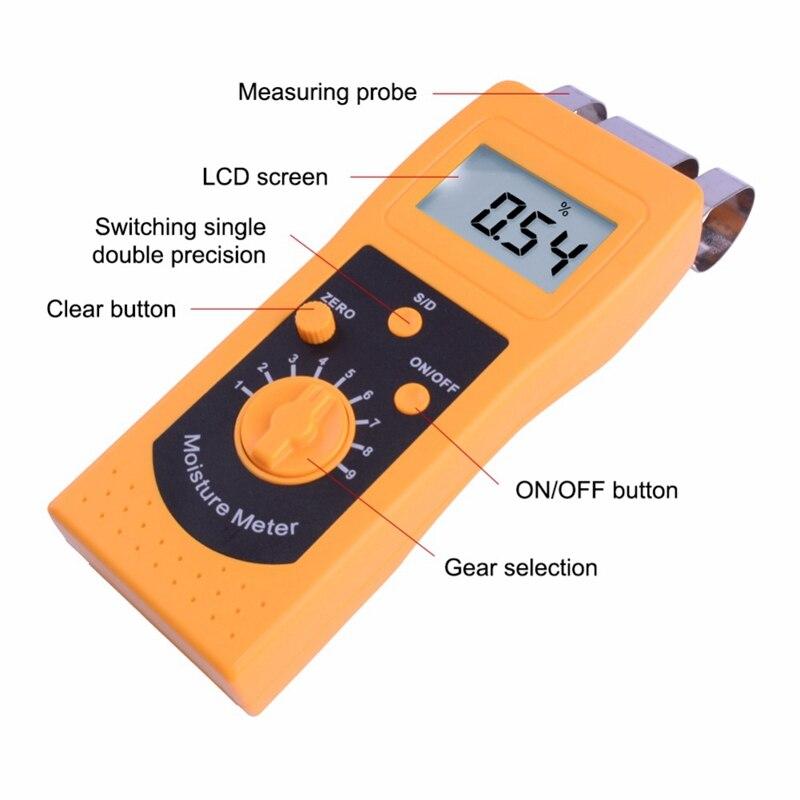 Instrumento dm200t alto desempenho portátil digital têxtil umidade medidor de medição display lcd - 4