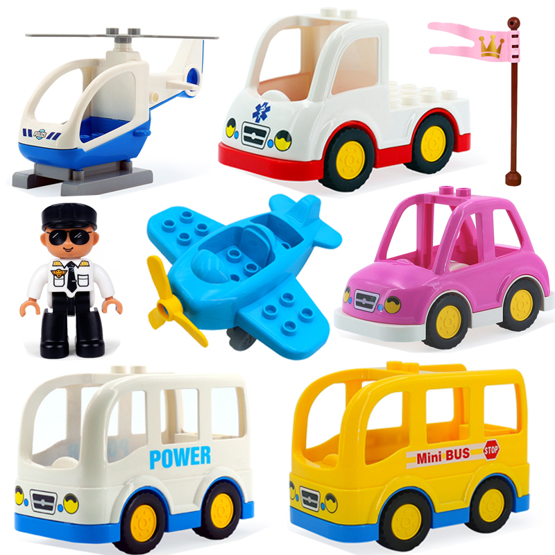 New Duplos Building Blocks Children Toys Big Size Bricks Building Blocks Toys Cartoon Car Airplane Train Model Gift For Children