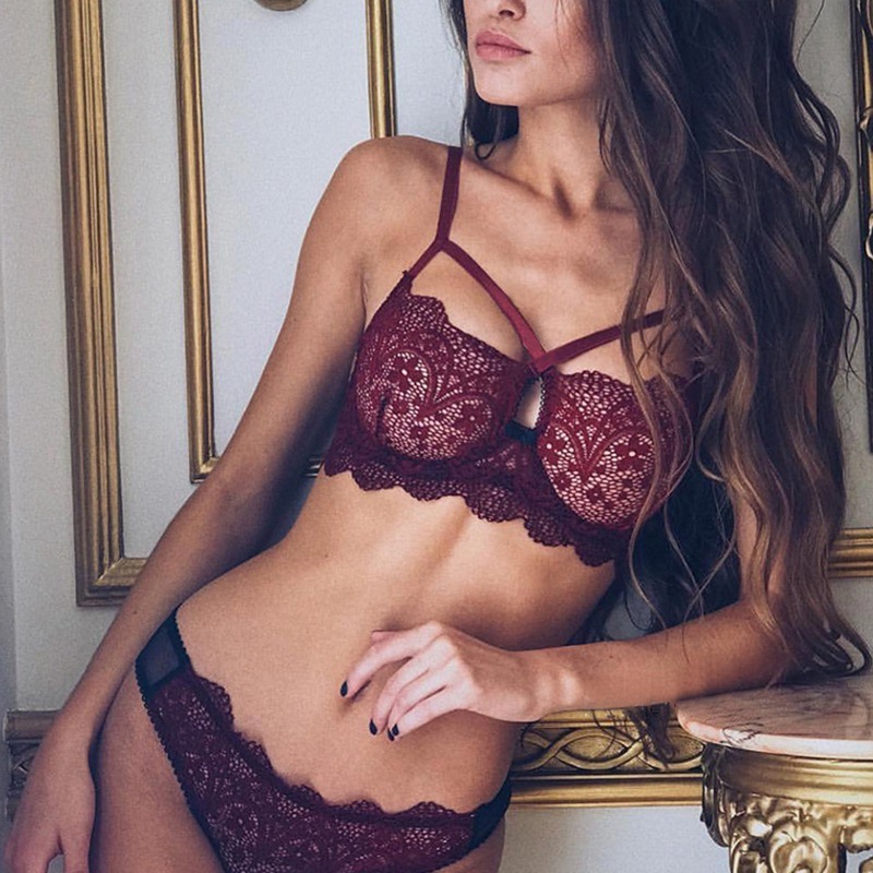 Sexy Lace Cross Straps Bra Sets Transparent Unlined Bralette Wireless Thin Mesh Women Panties Underwear Push Up Lingerie Set