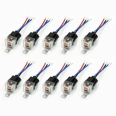 10 pièces douille en plastique vert lampe pilote SPST NC 4P voiture relais de sécurité 24VDC 40A