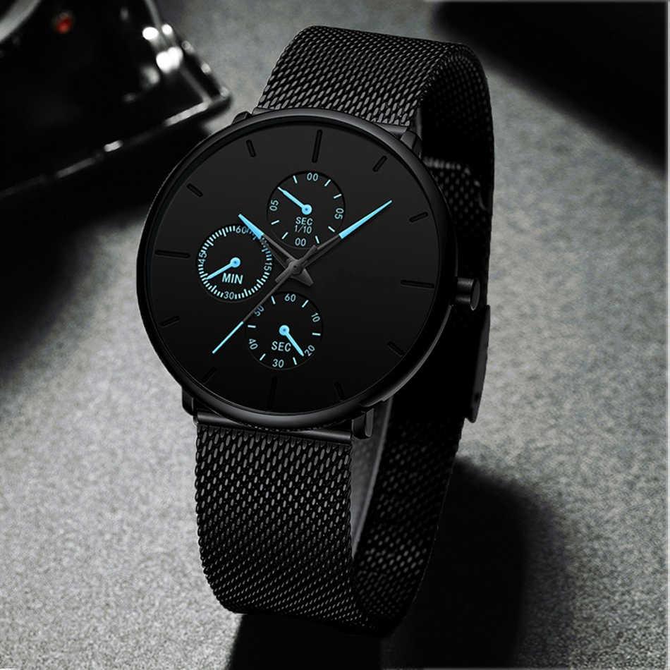 Mens שעונים זכר זוהר קוורץ שעון מקרית Slim רשת פלדה עמיד למים ספורט שעון 2020 מתנת Relogio Masculino kol saati