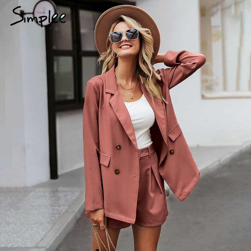 Image 2 - Simplee Elegant two piece office ladies blazer suits Buttons pockets sash belted women shorts suit Casual streetwear blazer setsWomens Sets   -