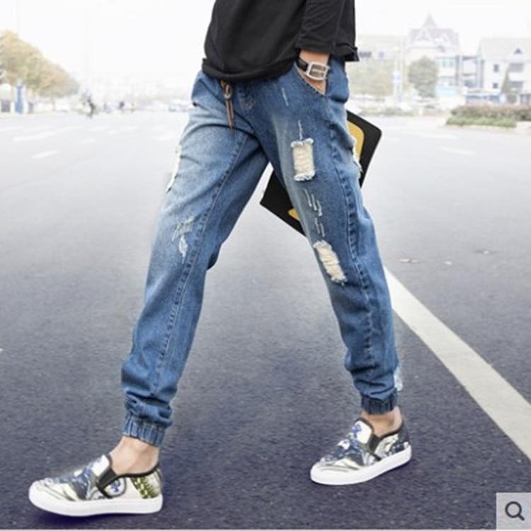 MEN'S Jeans Summer With Holes Closing Foot Capri Jeans Men Ankle Banded Pants Capri Pants Harem Skinny Pants Men's