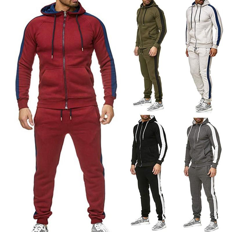 Spring And Autumn Men's Casual Sports Suit Simple Fashion Patchwork Sweatshirt And Sweatpants 2 Pcs Sets Tracksuit