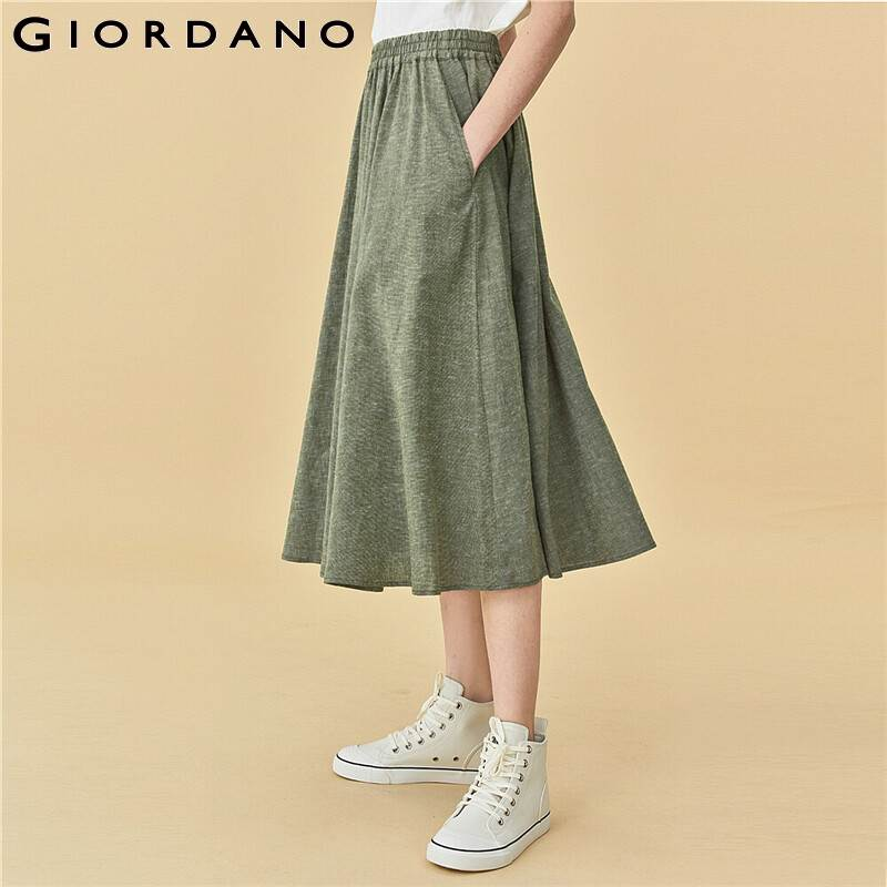Giordano Women Skirts Linen Cotton Elastic Waistband Skirts A Line Lightweight Trendy Solid Jupe Femme 05460353
