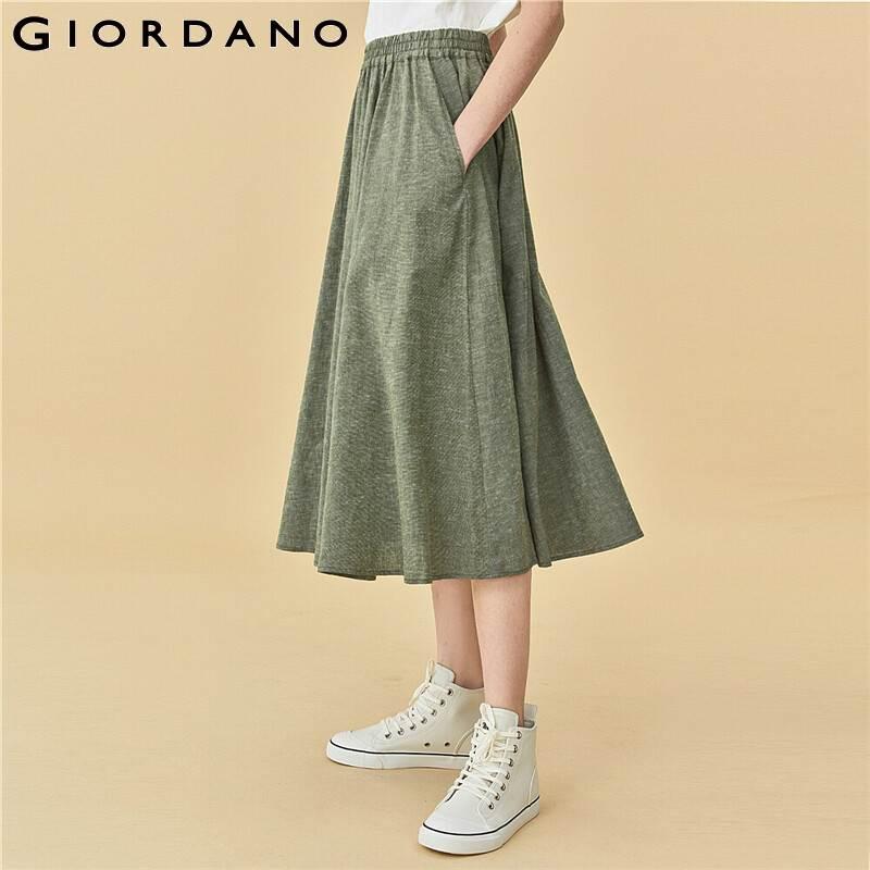 Giordano Women Skirts Linen Cotton Elastic Waistband Skirts A Line Lightweight Trendy Solid Jupe Femme 05460353