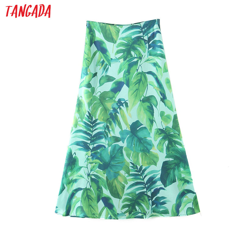 Tangada Women Leaf Print A-line Skirt Faldas Mujer Vintage Side Zipper Female Beach Skirts SL251