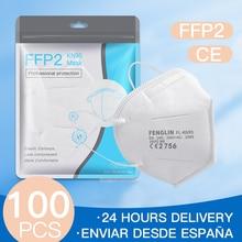 100PCS FFP2 Mask Face Masque Facial máscara Protect Mascarillas Filtration Anti Flu ffp2mask kn95mask Fast Shipping From Spain