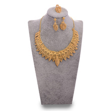 WANDO Dubai Jewelry Set Sun Flower Gold Color For Bride Women  Big Nigerian Wedding African Necklace Earrings Rings Jewelry Sets liffly dubai gold jewelry sets for women big necklace african beads jewelry set nigerian bridal wedding costume jewelry