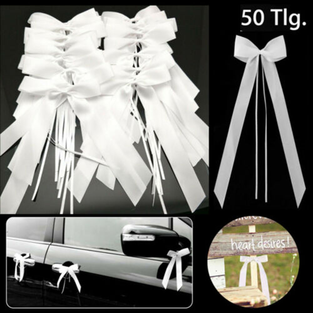 New 50Pcs White Wedding Car Decoration Gift Wrap Ribbon Bows Party Ribbons Bows Kit