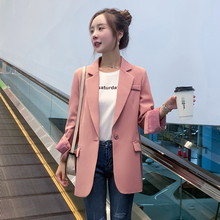 Korean Pink Casual Ladies Blazer Stylish Simple Loose Suit Jacket Long Sleeve Blazer Paillette Retro Autumn Women Blazer MM60NXZ
