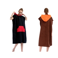 Adults Surf Beach Poncho Towel Wetsuit Changing Robe with Hood, Pocket for Beach Surfing Bathing Swimming