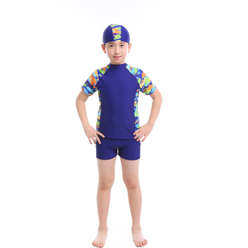 Cartoon New Style BOY'S Large Size Bathing Suit Split Type Big Kid Boxer With Swim Cap Tour Bathing Suit Hot Springs Beach Play