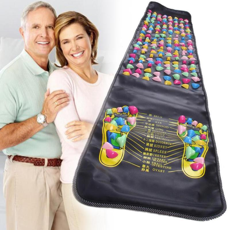 Foot Acupressure Massage Mat Pain Relief Feet Walk Massager Walk Stone Foot Massage Mat Pad Foot Spa Massager Size 175x35cm