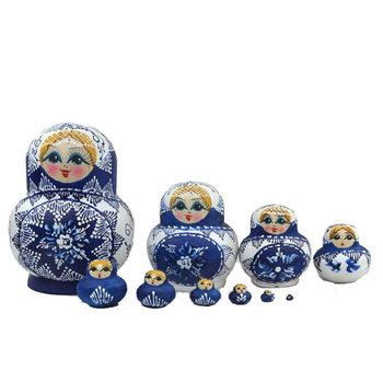 10pcs/set Painted Russian Matryoshka Blue and White Porcelain Pot-bellied Doll 5pcs set russian nesting dolls wooden matryoshka doll handmade painted