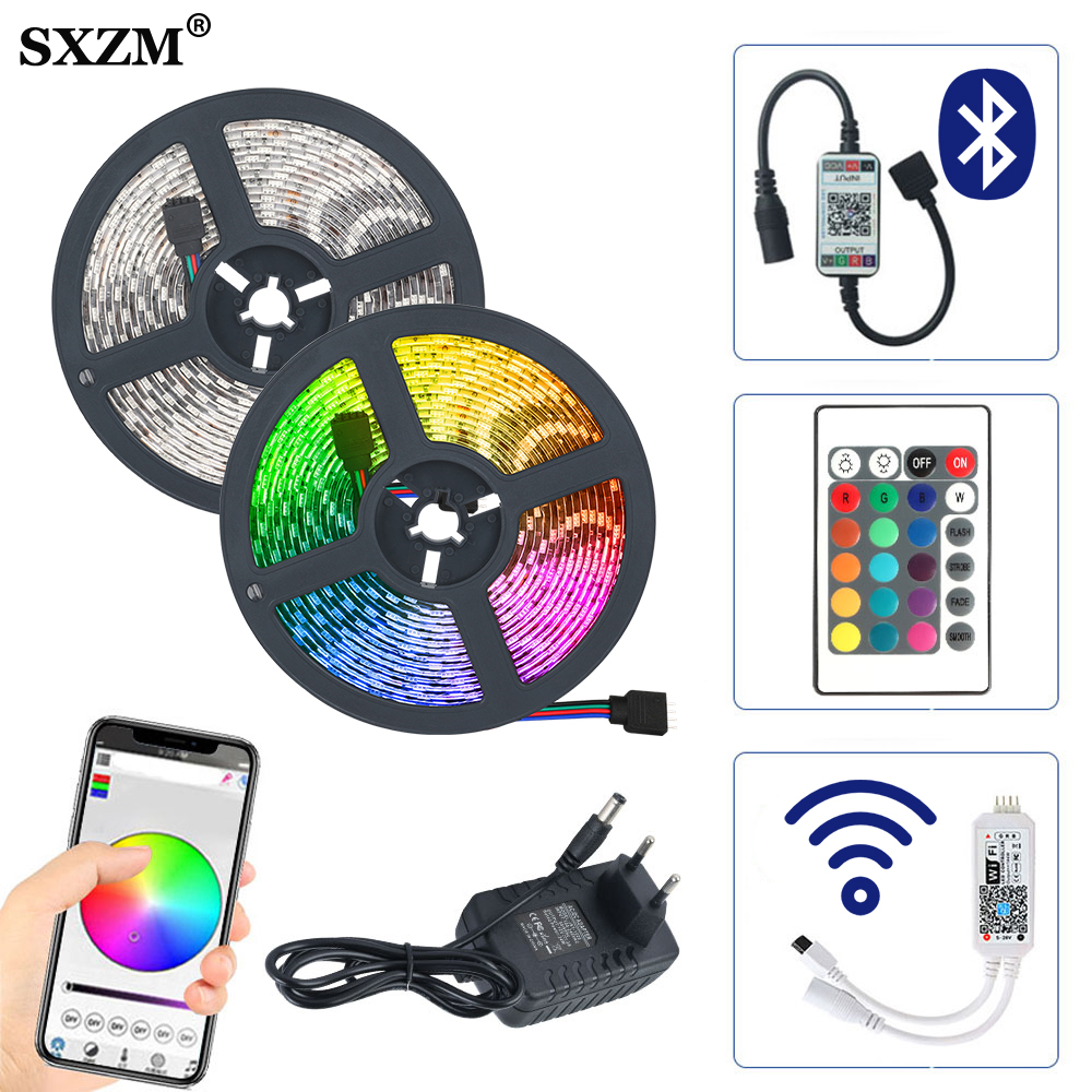 5m 10m 15m RGB LED Strip 5050 2835 DC12V Waterproof Bluetooth WiFi Flexible Diode Tape Ribbon LED Light Strips Remote Adapter