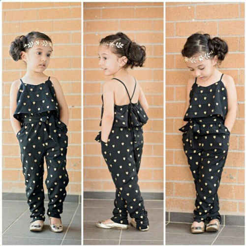 Fashion New Cute Strap Heart Overalls for Girls Kids Romper Jumpsuits Bib Pants Suspender Trousers Baby Girls Clothes