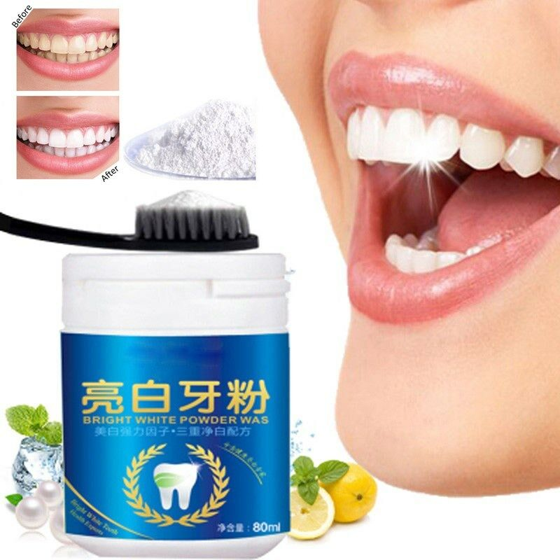 80g Teeth Whitening Powder Cleansing Quick Stain Removing Dental Oral Care Hygiene Toothpaste Natural Tooth White Pearl Powder