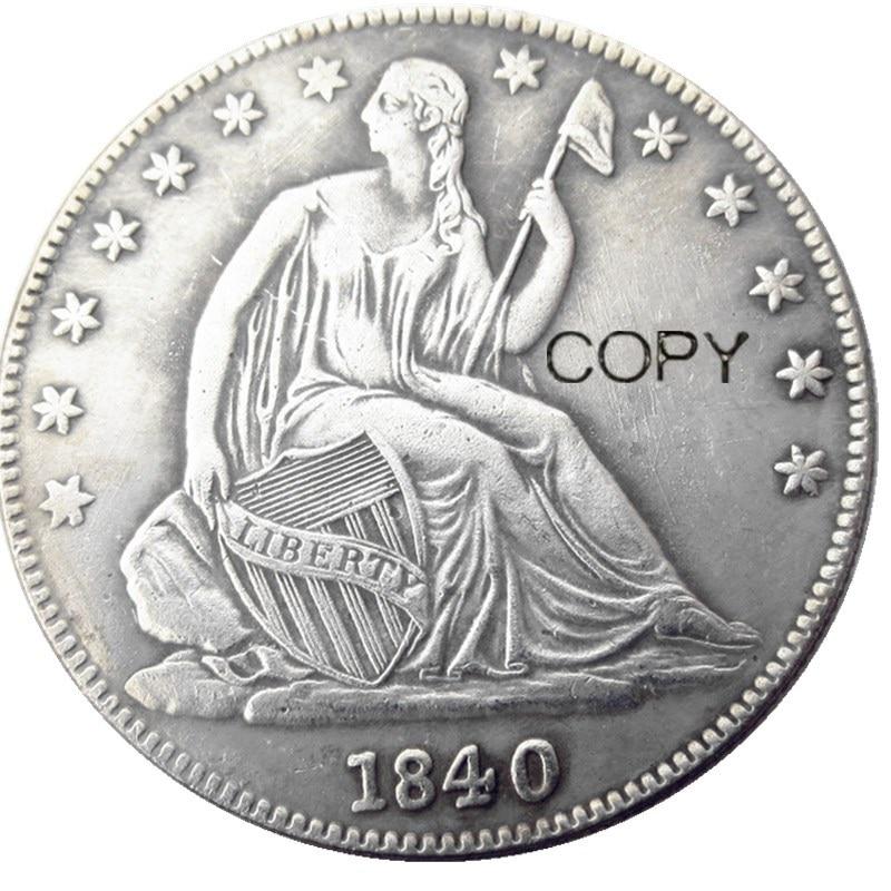 Us 1840 p/o liberdade sentado meio dólar prata chapeado moedas de cópia