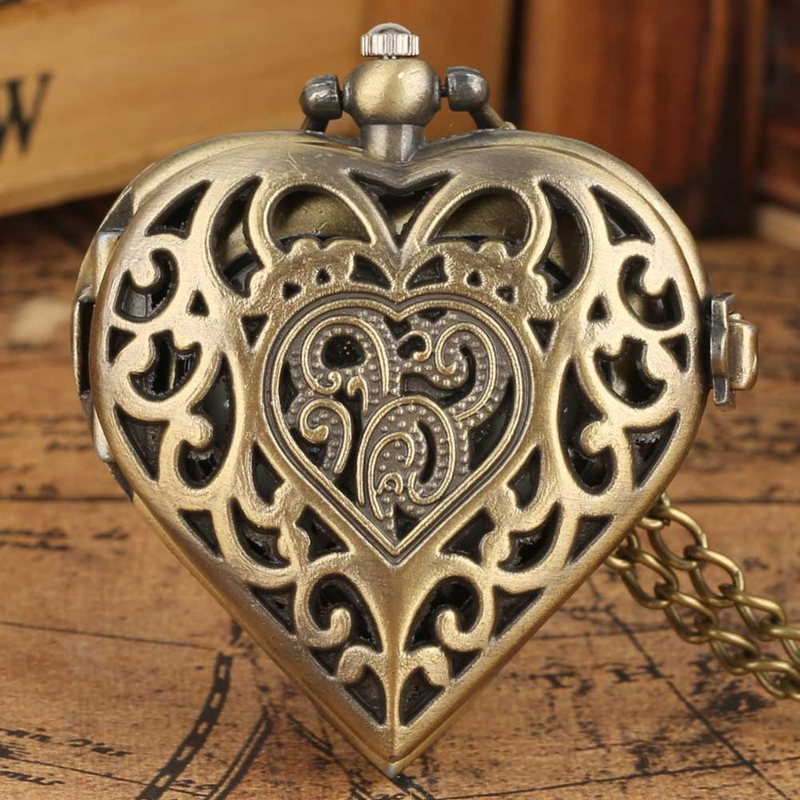Romantic Heart Shape Quartz Pocket Watch Bronze/Silver/Black Necklace Pendant Chain Ladies Watch Souvenir Gifts For Girls Women